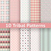 10 Tribal vector seamless patterns (tiling). Endless texture
