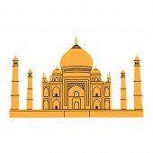 Taj Mahal isolated on white.