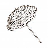 Sun umbrella isolated on white.