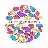 Vector hand drawn colorful background with seashells and place fo text