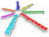 Entrepreneur 3d words innovator, creator, leader, impresario, self-starter visionary