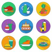 Flat Icons Of Food And Drinks
