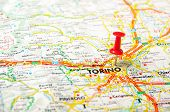 stock photo of torino  - Red push pin pointing at Torino Italy map - JPG