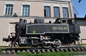 KIEV, UKRAINE - 26 MAY, 2014: The monument of Soviet steam locomotive near technical laboratories of