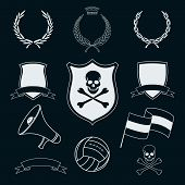 set of vector football elements for stickers
