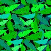 Grunge pattern with fern leafs