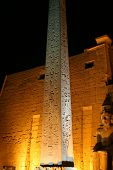 Obelisk and egyptian hiearoglifs in the Luxor temple