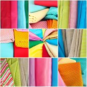 Colorful fabrics collage