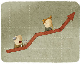 picture of going out business sale  - Two business people going up in arrow graph escalator - JPG