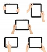 female hands holding a tablet touch computer gadget with isolated screen