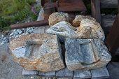 Model in stones.