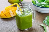 Mango With Banana And Spinach Smoothie