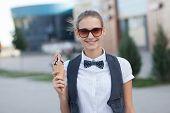 Trendy Girl Holding Ice Cream