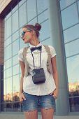 Stylish Girl Posing On Urban Background