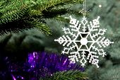 Beautiful Snowflake On A Christmas Tree