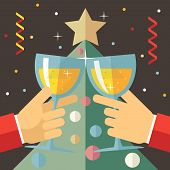 New Year Celebration Success and Prosperity Symbol Hands Holds a Glasses with Drink Icon on Stylish