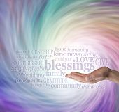Count Your Blessings Word Cloud on Energy Vortex Background