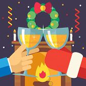 New Year Christmas with Santa Claus Celebration Success and Prosperity Symbol Hands Holds Glasses Dr