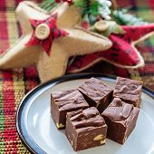 Homemade fudge with nuts and arranged on a small plate.