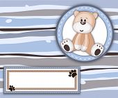 Stripey Card With Teddy Bear Label And Copy Space