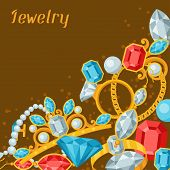 Set of beautiful jewelry and precious stones.