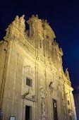 Basilica Cathedral Of St. Agata. Gallipoli By Night.