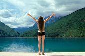 picture of landforms  - Free happy woman enjoying Beauty world - JPG