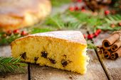 Christmas Piece Of Biscuit Cake With Cinnamon