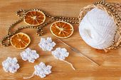 White Crochet Snowflakes For Christmas Decoration With Chaplet