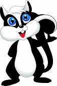 Cute cartoon skunk waving
