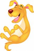 Cute cartoon dog laughing
