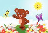 Happy baby bear cartoon