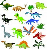 stock photo of prehistoric animal  - illustration of Dinosaur cartoon collection set isolated on white - JPG