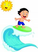 Happy little boy surfing