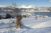 Winter view to Lavangen fjord and Soloy village, Troms county, Norway.