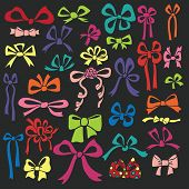 pic of drow  - Big  of colorful gift bow silhouettes  in modern flat doodles - JPG