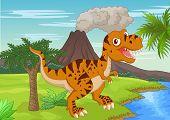 stock photo of terrific  - illustration of Prehistoric scene with tyrannosaurus cartoon - JPG