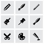 Vector black art tool icon set