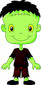 image of frankenstein  - illustration of Cartoon Frankenstein kid isolated on white - JPG