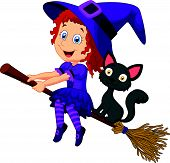 Cartoon young witch flying on her broom