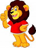 Vector Cute cartoon lion giving thumb up
