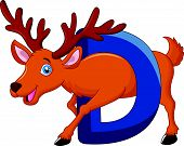 Alphabet D with deer cartoon