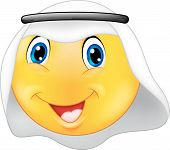 Emoticon smiley with Arabic dress