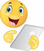 Emoticon smiley using tablet