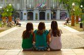 Three Teenage Girls Having Fun In The Town