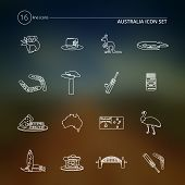 Australia icons set outline