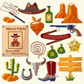 stock photo of cowboys  - Wild west cowboy flat icons set with gun money bag hat isolated vector illustration - JPG