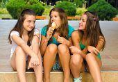 Three Teenage Girls And One Ice Cream