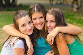 Happy Teenage Girls Having Fun Outdoor