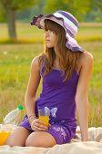Beautiful girl on picnic